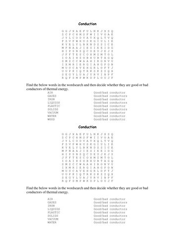 Conduction wordsearch