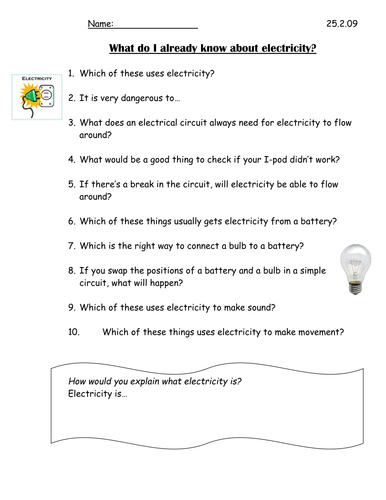 What do you already know about electricity? by pinguina81 - Teaching ...