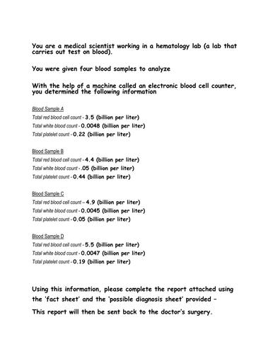 Blood Count Work Sheet