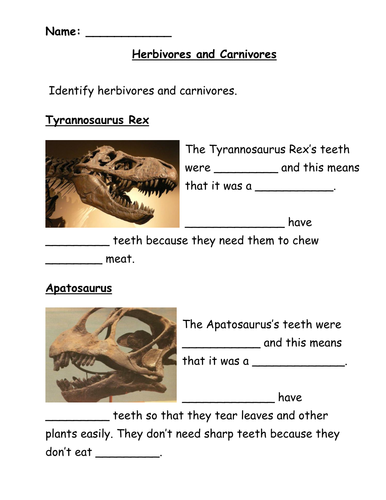 Dinosaurs Herbivores and Carnivores by jwraft - Teaching Resources ...