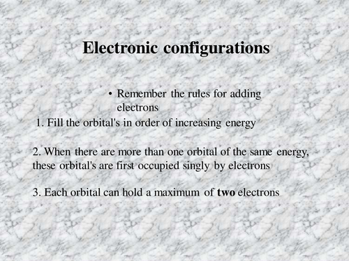Electronic configurations presentation