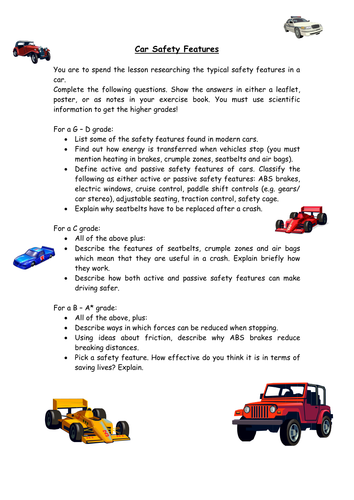 car safety features research task by rubberchicken2 teaching resources. Black Bedroom Furniture Sets. Home Design Ideas