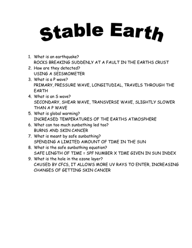 stable earth questions by funforester uk teaching