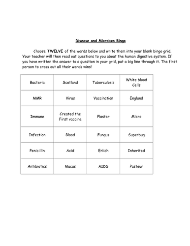 microbes and disease bingo by prettyinbiology teaching resources tes