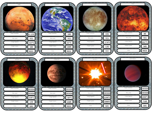 Planetary fact cards including extrasolar planets by ...