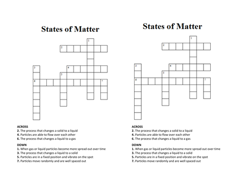 States of Matter CrosswordWordsearch by pennycorp Teaching – Changes in Matter Worksheets