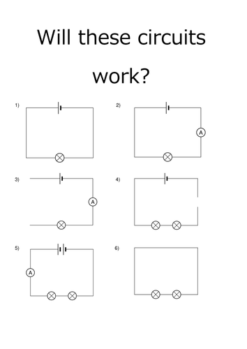 will these circuits work worksheet by kitatravs. Black Bedroom Furniture Sets. Home Design Ideas