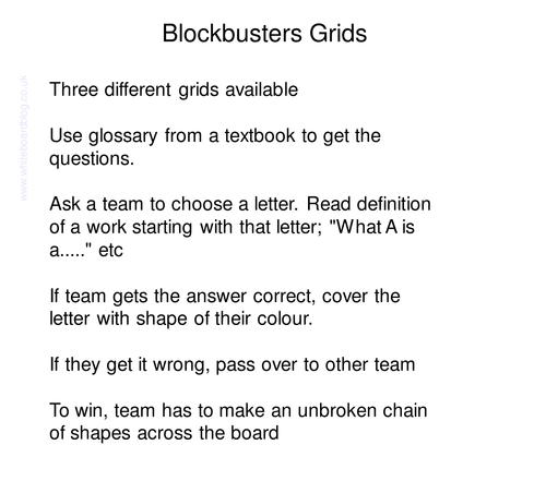 Blockbusters Grids for the IWB