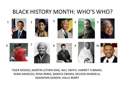 BLACK HISTORY MONTH QUIZ by mpc - Teaching Resources - Tes