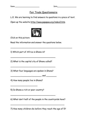 Fair trade questionnaire
