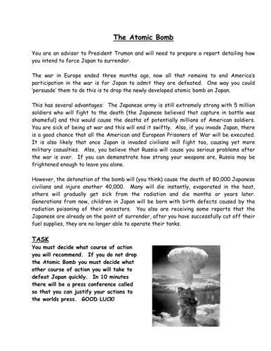pro atomic bomb essay Atomic bomb essay since the detonation of the atomic bombs on the japanese cities of hiroshima and nagasaki in august (pro-bomb) and chuck (anti-bomb.
