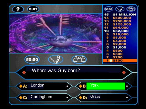 Guy Fawkes Who Wants to be a Millionaire