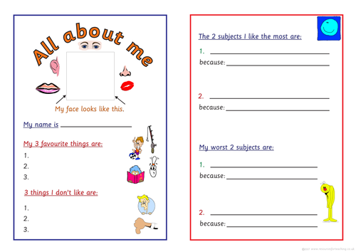 All About Me Booklet By Outwiththefairies Teaching Resources Tes