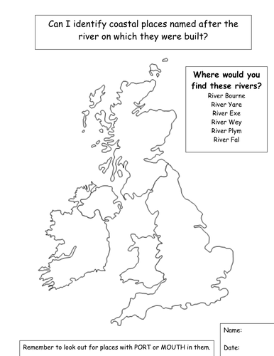A blank map to label rivers by jpspooner  Teaching Resources  Tes