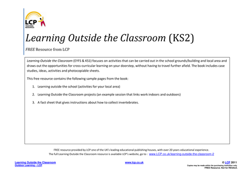 Outdoor Learning Resources for 3rd grade to 5th grade