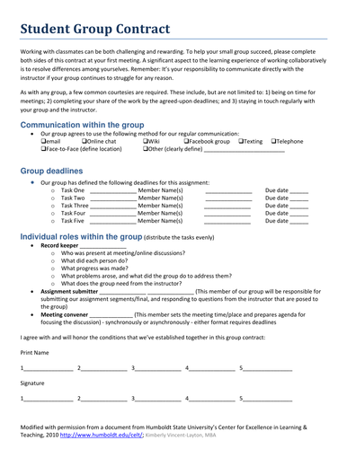 Group Contract Template Teaching Resources