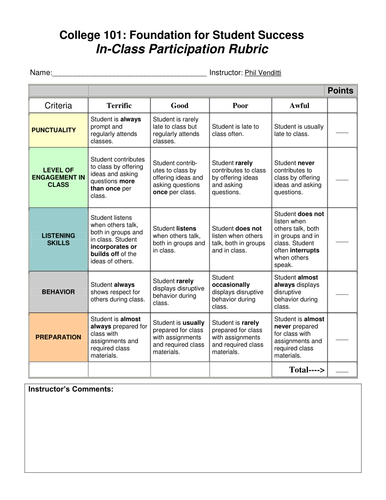 In-Class Participation Rubric