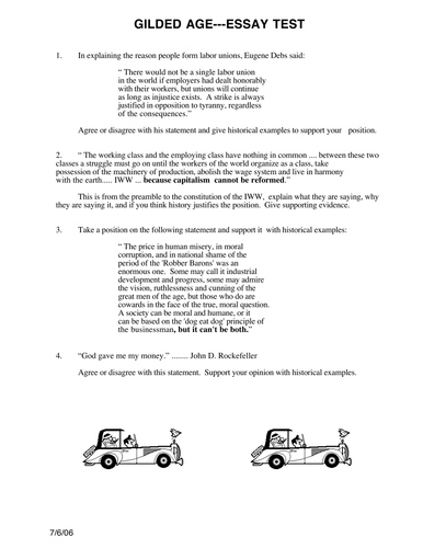 The Gilded Age Essay Test By Caveglia  Teaching Resources  Tes  Professional Proofreading Services also Argumentative Essay High School  Genetically Modified Food Essay Thesis