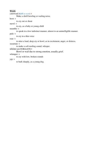 Antonym to Synonym Quadrants (howl) Handout by jabellpepper