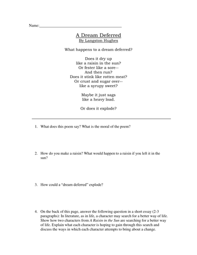 a dream deferred critical thinking questions by aharrison   a dream deferred critical thinking questions by aharrison87 teaching resources tes