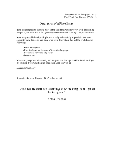 College Vs High School Essay Compare And Contrast  The Yellow Wallpaper Essay also How To Start A Proposal Essay Description Of A Place Essay By Aharrison  Teaching Resources  Tes Topics For A Proposal Essay