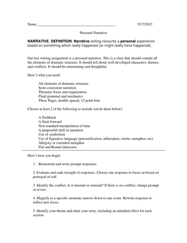 Examples Of A Thesis Statement For An Essay  English Debate Essay also Persuasive Essay Examples High School Narrative Essay Assignment By Aharrison  Teaching Resources Thesis Statement For Friendship Essay