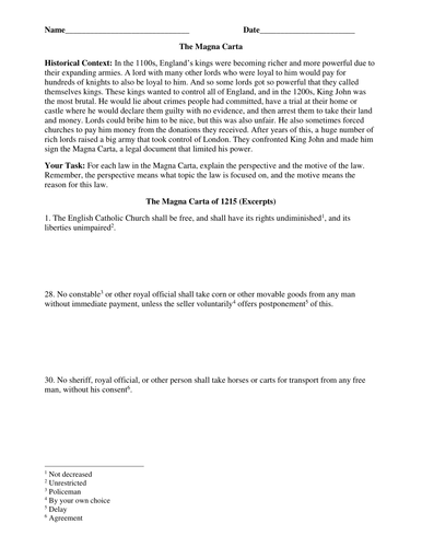 Worksheets Magna Carta Worksheet magna carta excerpts worksheet by groovingup teaching resources tes