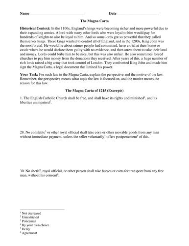 Magna Carta Excerpts Worksheet By Groovingup Teaching Resources Tes