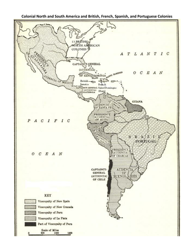 Colonial South America Map.Map Of Colonial North And South America By Groovingup Teaching