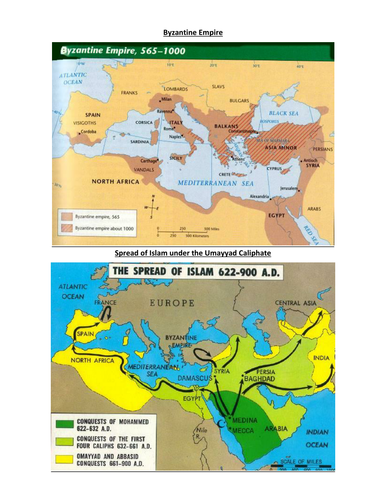 Byzantine Map vs. Spread of Islam Map on