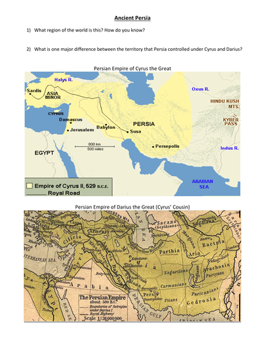 Ancient Persia Map Handout by groovingup - Teaching Resources - Tes