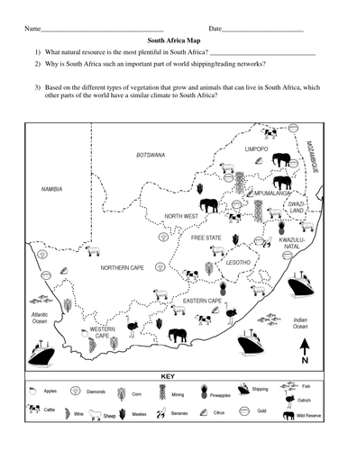 South Africa Natural Resources Map by groovingup | Teaching Resources