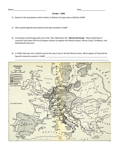 Europe in 1648: Map and Questions by groovingup - Teaching Resources ...
