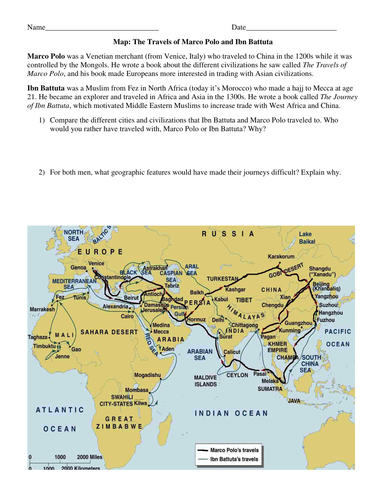 Ibn Battuta And Marco Polo Journey Map By Groovingup Teaching - Where i have traveled map