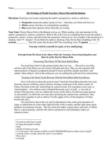 Marco Polo And Ibn Battuta Writings By Groovingup Teaching