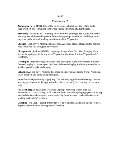 Ballet Vocabulary List By Kristintillotson Teaching Resources Tes