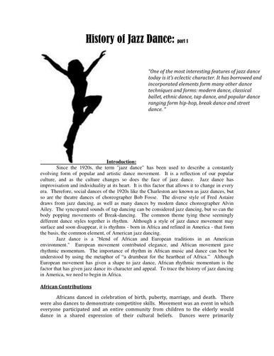 History Of Jazz Dance Hw By Kristintillotson Teaching Resources Tes