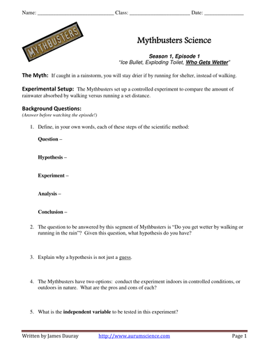 Worksheet Mythbusters Scientific Method Worksheet teaching the scientific method with mythbusters by jamesdauray mythbusters