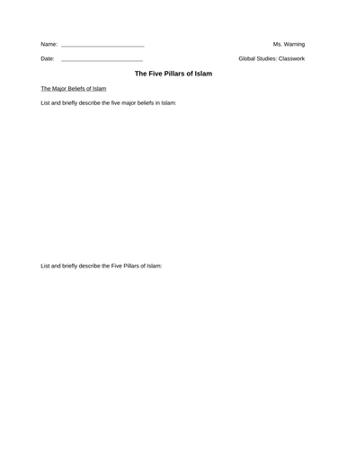 Islamic Stus Worksheet 2 3 Iman   The Angels also Five pillars of islam worksheet   Teaching Resources together with  in addition 5 pillars WS   Google Docs additionally Five Pillars Of Islam Worksheet   Free Printables Worksheet besides Free Worksheets Liry   Download and Print Worksheets   Free on in addition Pillars of Islam Learning Resources   TJ Homeing together with Five pillars of Islam     Pinterest   Islam  Pillars of islam in addition General year 5 – Safar Resources – Beta furthermore Five Pillars Of Islam Worksheets further Islamic Worksheets together with The Five Pillars Of Islam Worksheet  five pillars of islam worksheet further The Five Pillars of Islam moreover The Five Pillars of Islam by collans   Teaching Resources   Tes additionally 5 Pillars of Islam   Note Sheet by Monica Lukins   TpT in addition Five Pillars of Islam Worksheet by TeacherGoman   Teaching Resources. on five pillars of islam worksheet