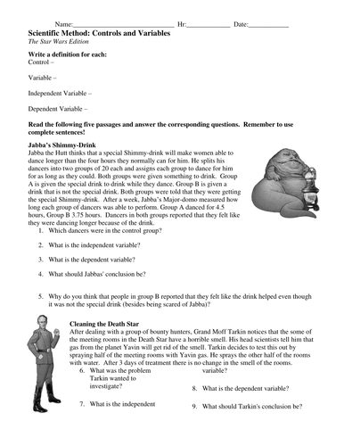 Controls And Variables Worksheets By Teachinsci Teaching Resources