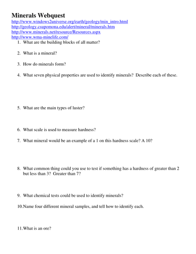 Rocks And Minerals Webquest Answer Sheet - slidesharefile