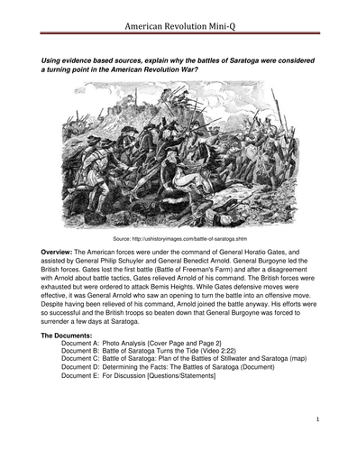 Battles of Saratoga Mini Q (Supports Common Core)