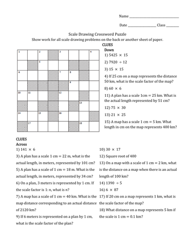 Scale Drawings & Scale Factor Crossword Puzzle+KEY by