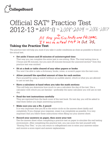 Official SAT Practice Test Video/Written Solutions by