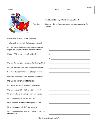 Worksheets Constitution Scavenger Hunt Worksheet constitution scavenger hunt executive branch by jyoung121 teaching resources tes