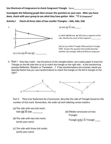 SSS SAS ASA of Triangles