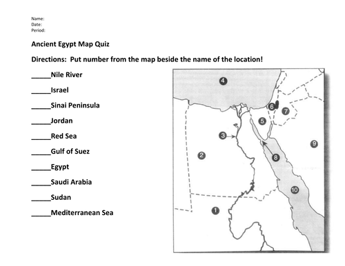 Ancient Egypt Map Worksheet Ancient Egypt Map Quiz and Answers | Teaching Resources
