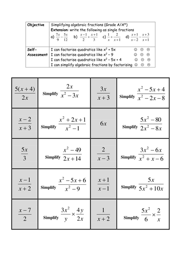 simplifying algebraic fractions worksheet by holyheadschool teaching resources tes. Black Bedroom Furniture Sets. Home Design Ideas