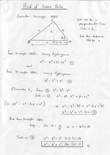 how to use cosine rule