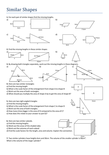 Similar Shapes. Worksheet by Tristanjones - Teaching Resources - Tes